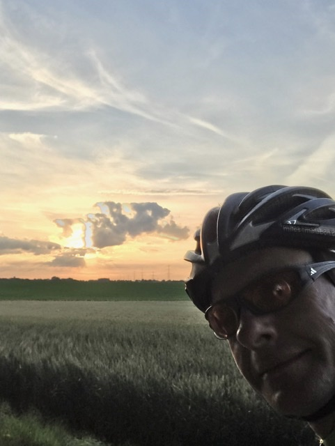Bert cycling at sun set