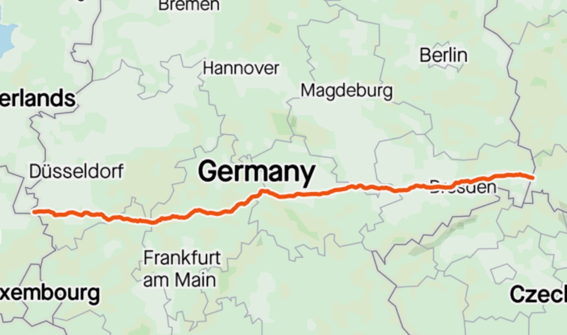 770km across Germany